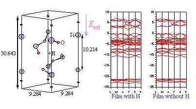 Model of SiO2 thin film with the interstitial H atom